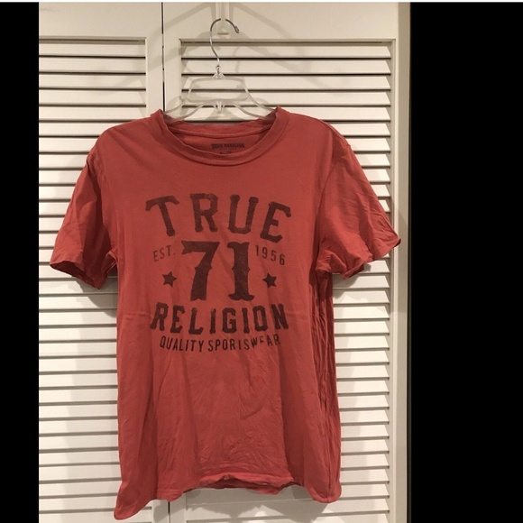 a04c63ee True Religion Tops | Jeans Womens Coral Graphic Short Sl | Poshmark